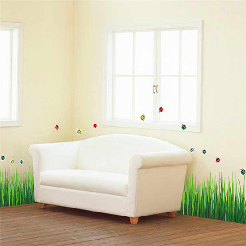Removable DIY Baseboard Green Grass Ladybug Butterfly Skirting Line Nursery Kindergarten Home Decor Art Wall Stickers Wallpaper