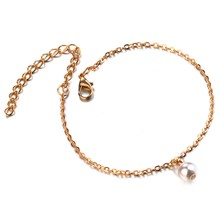 Plain Chain Anklets For Women Elegant Imitation Pearl Charm Gold Silver Color Foot Ankle Bracelet Jewelry(China)