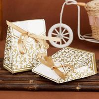 Free Shipping 100pcs Pack Gold Wedding Favor Boxes Wedding Candy Box Casamento Wedding Favors And Gifts