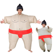 цены Children Kids Inflatable Sumo Suits Wrestler Costume for Adults Women Fat Man Airblown Sumo Run Cosplay Party Halloween Costumes