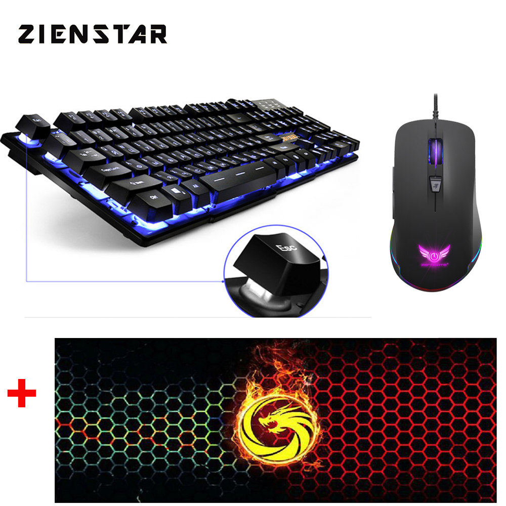 ZIENSTAR Russian Game Keyboard with Three Colors Backlit , Similar Mechanical Feel ,with Big Size Mouse Pad and RGB Gaming Mouse