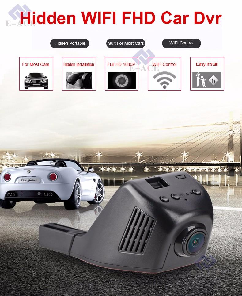 E-ACE Car Dvr WIFI DVRs Dual Camera Lens Registrator Dashcam Digital Video Recorder Camcorder Full HD 1080P 30FPS Night Version 3