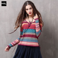 Sweater 2018 Spring Autumn New Casual Cotton Knitted Sweaters Loose Soft Women Pullover Contract Color Striped