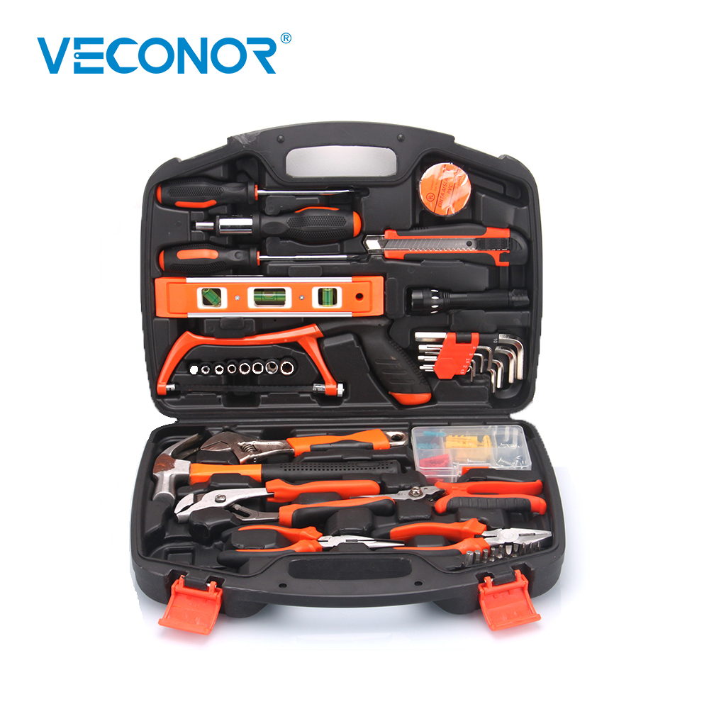 VECONOR 106PCS Hand Tool Set General Household Hand Tool Kit With Plastic Toolbox Storage Case Knife Saw Plier Hex Wrench Socket 18 pcs multifunction hand tool set general household hand tool kit with plastic toolbox storage case plier wrench hammer set