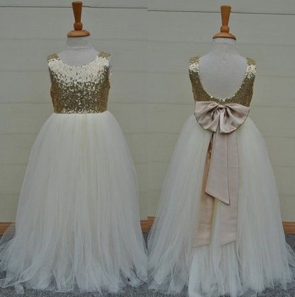 Cheap Cute Lovely   Girls     Dress   Scoop Ball Gown Floor Length Bow Sash Sequins Organza   Flower     Girls     Dresses   Little   Girl   Party Gowns