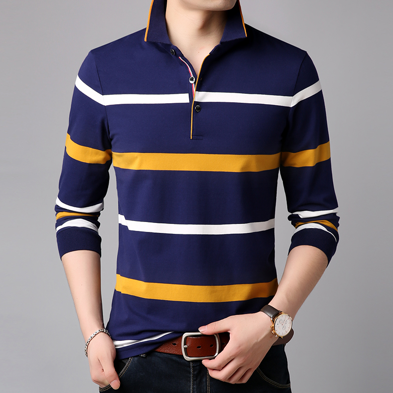 2019 New Fashions Brands Polo Shirt Men Striped Long Sleeve Slim Fit Stand Collar Cotton Polos Casual Mens Clothing
