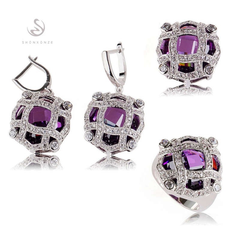 SHUNXUNZE luxury big boho wedding charms jewelry sets & more for women Purple Pink Cubic Zirconia Rhodium Plated R513set R516set
