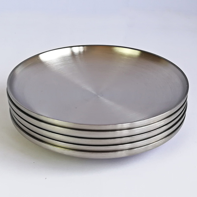 304 Stainless Steel Dinnerware 8 Inch Double Layer Heat Insulation Plate Korean Barbecue Dish Pickled Wegetables & 304 Stainless Steel Dinnerware 8 Inch Double Layer Heat Insulation ...