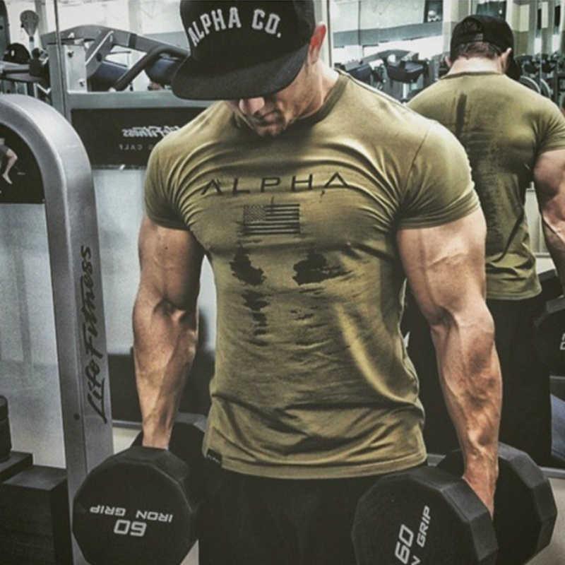 Penjaga Ruam Pria Olahraga Kemeja Camo Gym T Shirt Pria Cepat Kering Fit Berjalan T Shirt Lengan Pendek Kebugaran Tshirt Solid latihan Top Tees