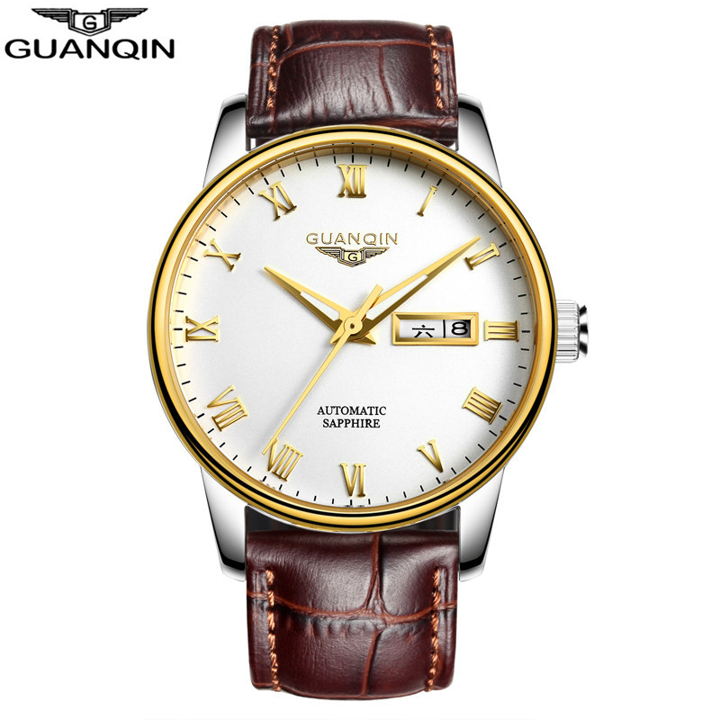 Top Brand Watch GUANQIN Men Mechanical Watches Luxury Fashion Casual Waterproof Mens Wristwatch for Men Clock Relogio Masculino top brand men automatic self wind watch guanqin date watch men s fashion casual leather mechanical wristwatch relogio masculino