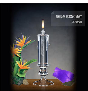 9PiG Transparent Candle Oil Lamp Candlestick Glass Kerosene