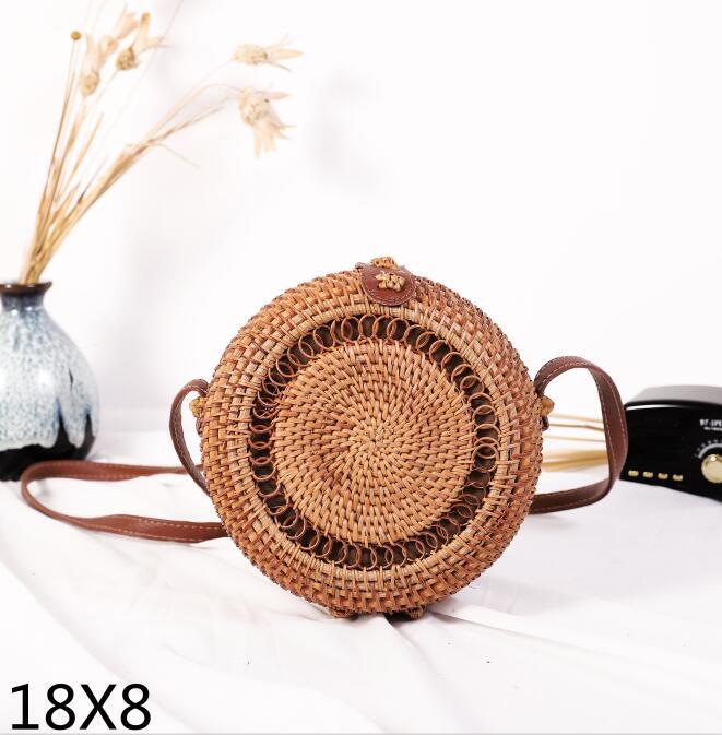 Woven Rattan Bag Round Straw Shoulder Bag Small Beach HandBags Women Summer Hollow Handmade Messenger Crossbody Bags 17