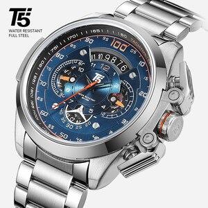 Image 2 - T5 מותג יוקרה שחור זהב זכר שעון צבאי קוורץ ספורט שעון יד גברים הכרונוגרף עמיד למים Mens שעוני ספורט שעוני יד
