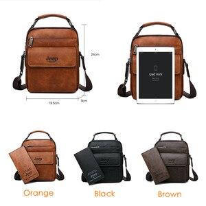 Image 2 - JEEP BULUO Men Shoulder Bags High Quality Handbags Mans Messenger Bag Fashion Split Leather For Men Tote 2019 New 2PC/Set