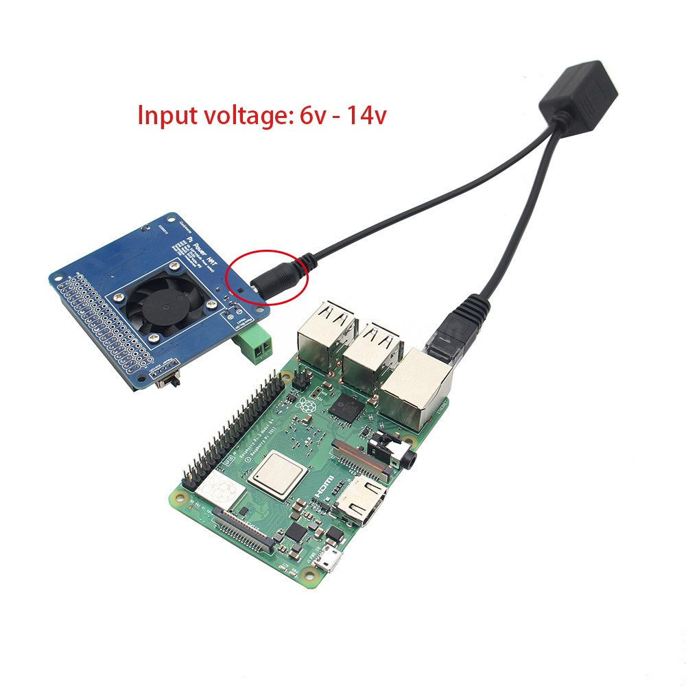 US $5 69 5% OFF|Raspberry Pi 3 Model B+(Plus) POE Adapter w/ Smart  Temperature Control Fan+Power Hat Board Kit input 6V~14V | DC 5V Max  4A  Out-in