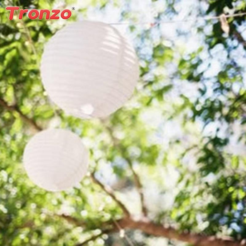 Tronzo 5 stks Papieren Lantaarn 6/8/10/12/14 Inch Wit Chinese lampion - Feestversiering en feestartikelen