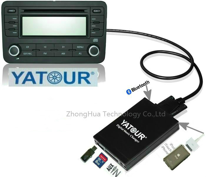 Yatour YTM07 Digital music changer USB SD AUX Bluetooth ipod iphone for VW Audi Skoda Seat Quadlock 12-pin MP3 Adapter