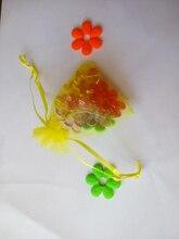50 unids amarillo del regalo del organza bolsas 17×23 cm bolsos de fiesta para las mujeres evento casarse bolso de Lazo de Exhibición de La Joyería bolsa de Bolsa de accesorios de bricolaje