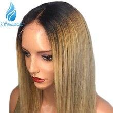 Shumeida peruca cabelo humano frontal, 13*4 renda cabelo humano pré selecionado com ombré, cabelo liso, brasileiro remy perucas para mulheres negras