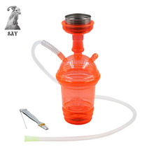SY 1set Acrylic LED Light Hookah Cup Set Shisha Pipe with Sheesha Hose Stainless Steel Bowl Charcoal Holder Chicha Narguile