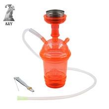 SY 1set Acrylic LED Light Hookah Cup Set Shisha Pipe with Sheesha Hose Stainless
