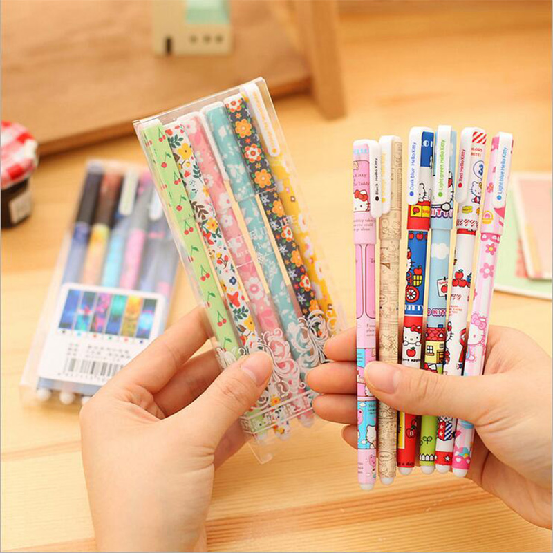 6 pcs/lot floral color gel pen kawaii stationery pens canetas material escolar office school supplies papelaria lapices erasable pen kawaii stationary material escolar boligrafo gel penne cute canetas floral caneta stylo borrable cancellabi