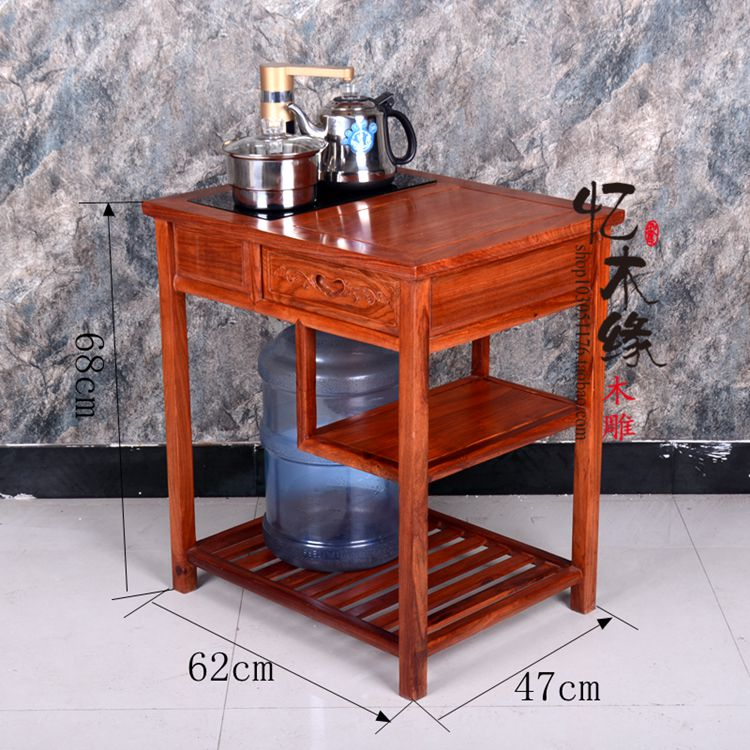 Antique Chinese style wooden table tea table, mahogany kungfu tea table, mobile tea cart, rosewood tea water rack