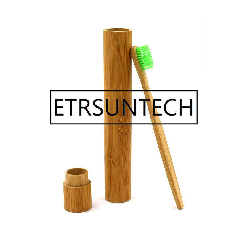 100pcs Portable Natural Bamboo Toothbrush Case Tube For Travel Eco Friendly Hand Made Heath Tooth Brushes
