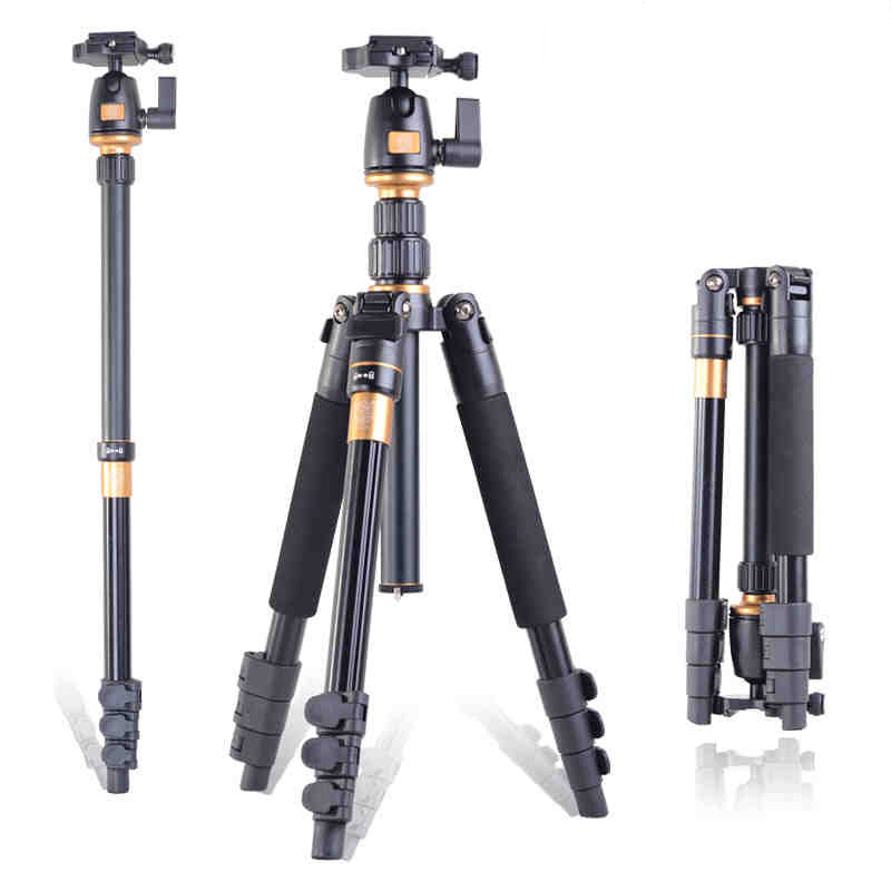QZSD Q555 Professional Photographic Portable Monopod Tripods + Ball Head Digital SLR Camera For Traveling/Q666 Free Shipping zomei z888 portable stable magnesium alloy digital camera tripod monopod ball head for digital slr dslr camera