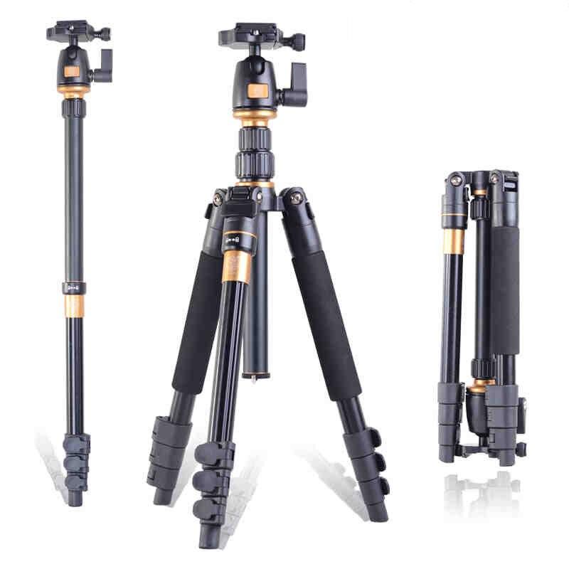 QZSD Q555 professionnel photographique Portable monopode trépieds + rotule numérique reflex appareil photo pour voyager/Q666 livraison gratuite