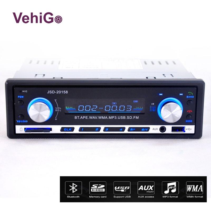 VehiGo Car Radio Player Bluetooth JSD 20158 Car Radio 12V Bluetooth Handsfree Build in Mic In