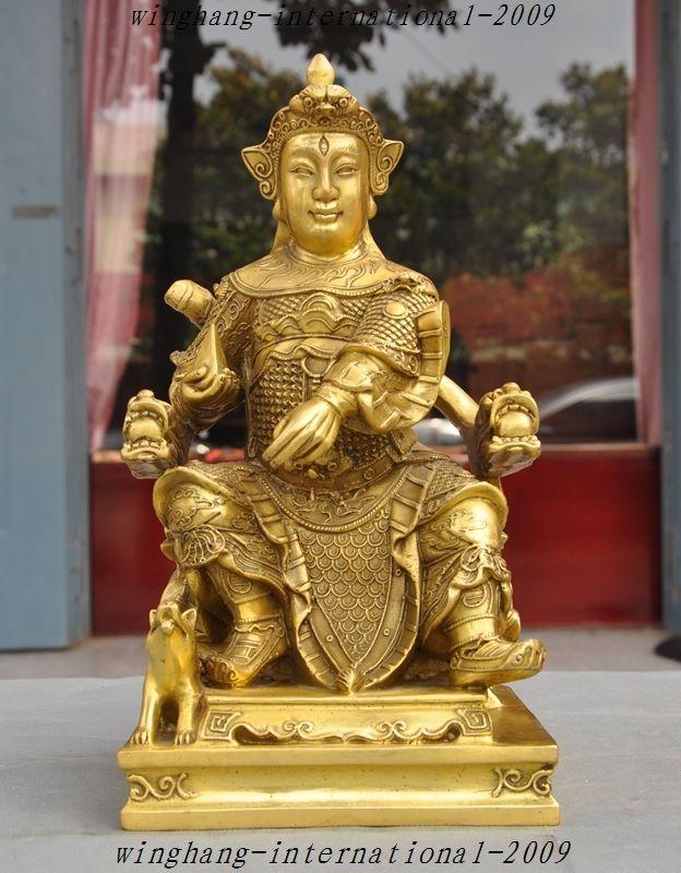 christmas Chinese Brass Copper Myth immortal God Yang Jian Erlang Shen Statue Sculpture halloween statue