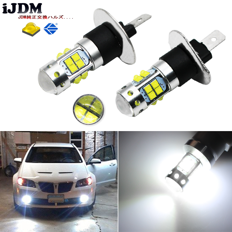 iJDM HID Xenon White 20-SMD XBD H1 LED Replacement Bulbs For Car Fog Lights or Daytime Running Lights, DRL Lamps,h1 led 12v ijdm hid white 15 smd 3535 powered 3157 t25 led bulbs for daytime running lights drl for 2011 and up jeep grand cherokee 6000k