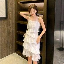EAD Boho Style V Neck White Women Summer Dress Spaghetti Strap Female Sexy Dresses Cascading Ruffle Ladies Party Vestido
