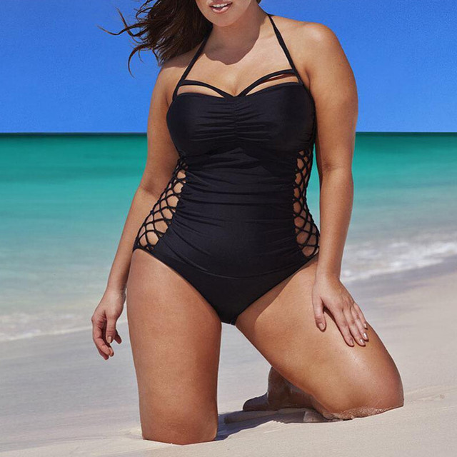 051973c508936 2018 New One Piece Swimsuit Brazilian Bikini Set Sexy Beachwear Plus Size  Swimwear Women Bikinis Black Bathing Suit XXXXL