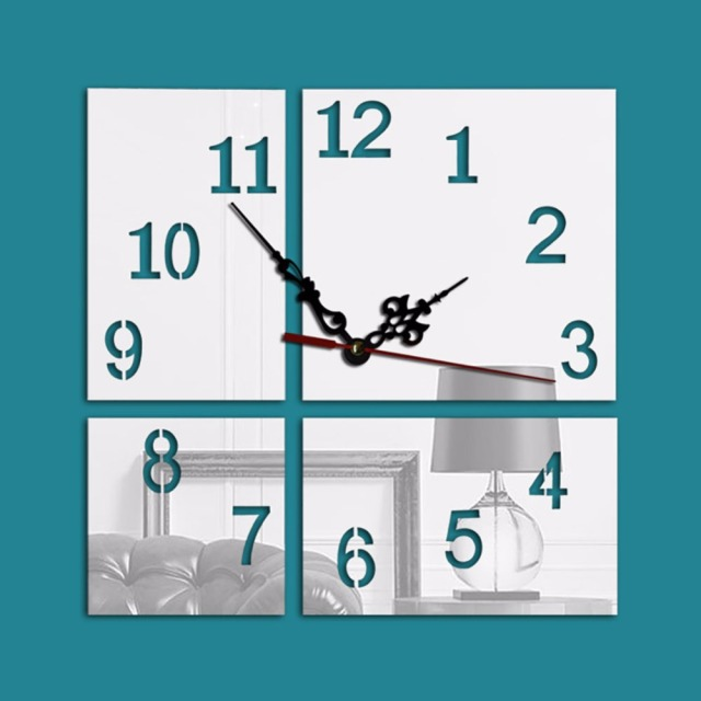 Modern 3D Square Frameless Large Wall Clock Watches DIY Wall Sticker Room Home Decorations
