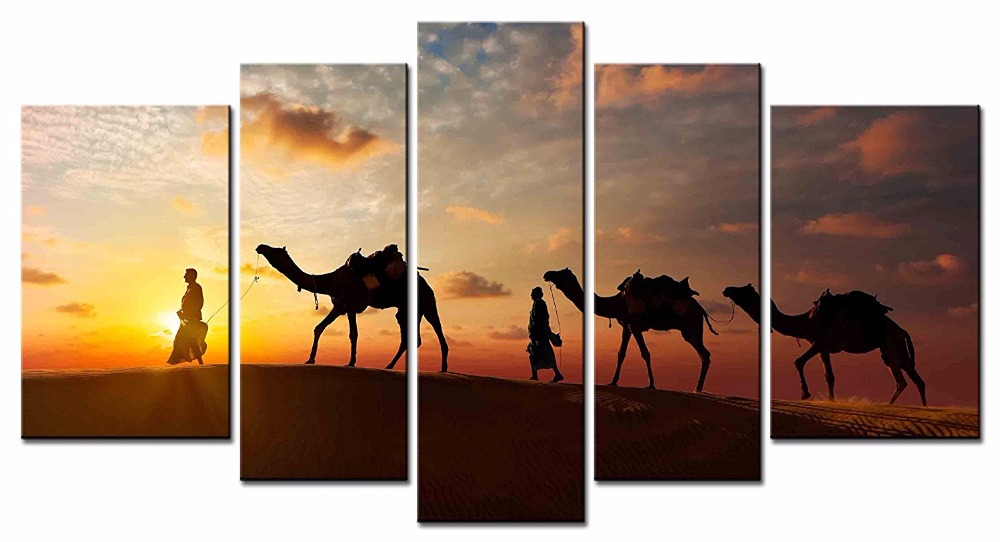 Framed 5 Pieces/set Desert Camel Landscape Canvas Painting Living room bedroom Decoration Print ...