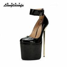 LLXF Stiletto Fetish 22cm metal thin heels Ankle strap shoes Round Toe Cosplay Lock And Key Padlocks SM pumps Plus:40-48 49 50