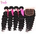 Brazilian Virgin Hair With Closure Brazilian Deep Curly Virgin Hair Brazilian Deep Wave 4 Bundls With Closure 8A Grade Deep Wave
