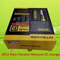 2015 nueva versión nitecore i2 cargador de batería aaa 26650 22650 18650 aa 17670 18490 controlado inteligente del cargador de batería