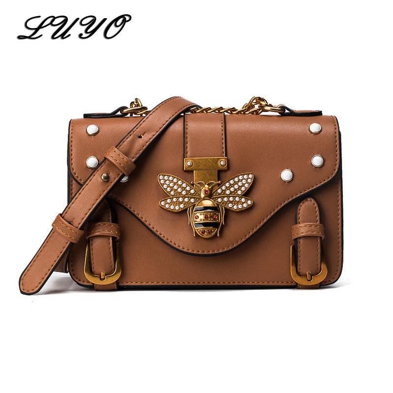 LUYO Brand Women Messenger Bags Female Little Bee Luxury Handbags Crossbody Bags For Women Shoulder Bags Designer With Pearl