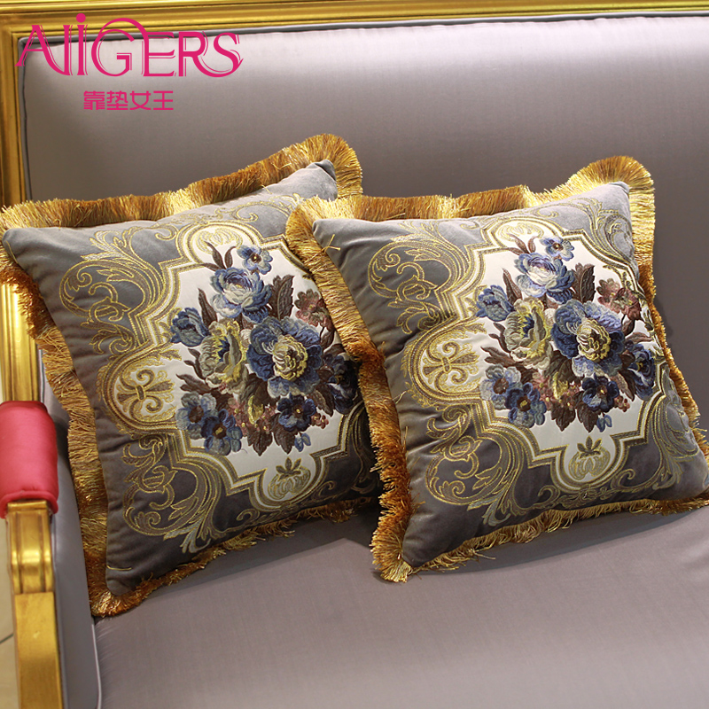 Avigers Luxury Velvet Embroidery Cushion Cover Flower PillowCase Tassel Pillow Cover Home Decorative Sofa Chair Bed