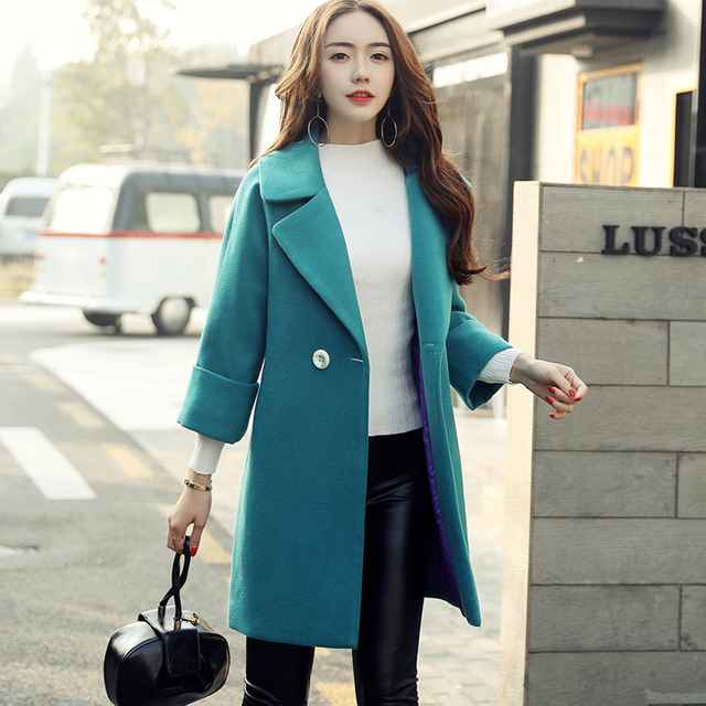 5406ba58 2018 Direct Selling Solid Full Button Bayan Kaban Coats Medium Sleeve Girls  Spring New Korean Fashion Slim Double Breasted Coat