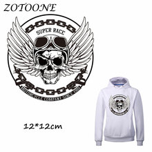 ZOTOONE Iron on Stickers Patches for Clothes Wing Skull Patch SUPER RACE DIY Accessory Heat Transfer Appliques C
