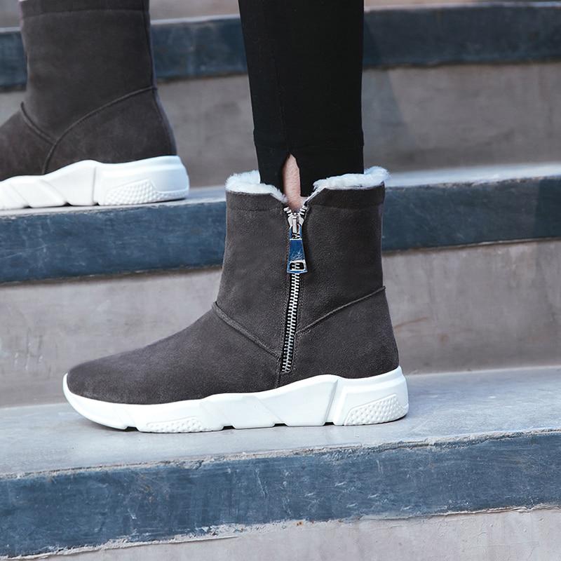 Lana Cómodo Botas Mujeres Black Marca Cuero Diseño De Gamuza Frío Nieve Zapatos Botines Ocio Genuino gray Zapatillas Corto Invierno xfnfq6Rzw