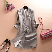 2018 Spring Women High Quality Beading Slim Fit Blazer Famale Long Vintage Plaid Notched OL Blazers