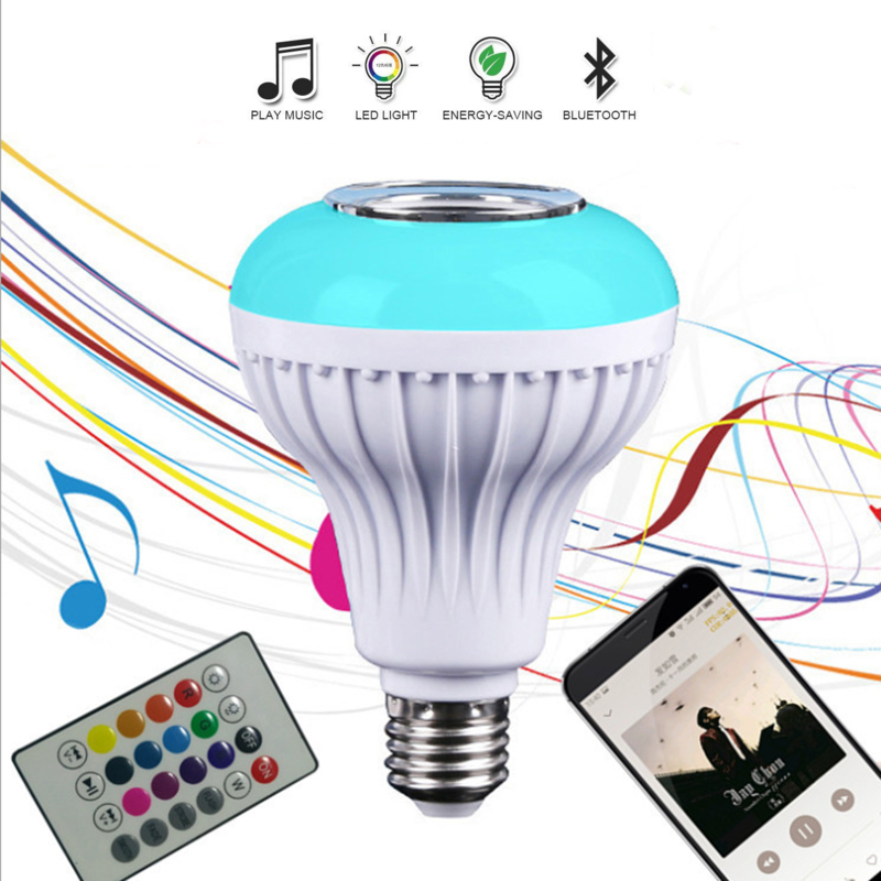 RAZEND Smart RGBW Wireless Bluetooth Speaker Bulb Music Playing Dimmable 12W E27 LED Bulb Light Lamp with 24 Keys Remote Control smuxi e27 led rgb wireless bluetooth speaker music smart light bulb 15w playing lamp remote control decor for ios android