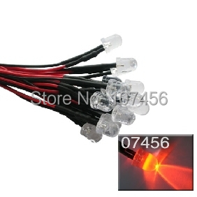 50pcs 10mm Orange LED Lamp Light Set 20cm Pre-Wired 5V Free Shipping