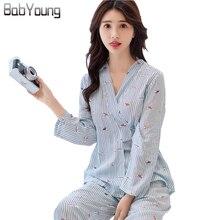 ФОТО babyoung 2018 women spring summer japanese kimono twinset pajamas set long sleeve cotton pyjama femme pijama feminino mujer