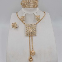New High Quality set Dubai Gold jewelry set Fashion Wedding African Bridal Costume Jewelry Sets necklace earrings set for women